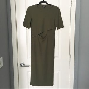 Topshop Over-The-Knee Olive Dress